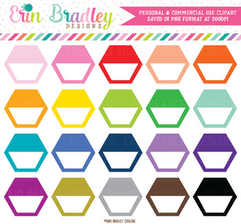 Hexagon Clipart, Half Boxes Shapes