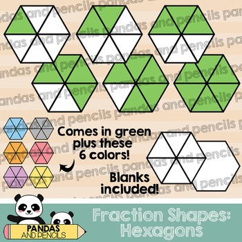 Hexagon Fractions Clip Art (Thick Lines)