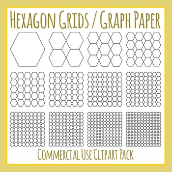 Hexagon Grids / Graph Paper Clip Art for Commercial Use