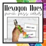 Hexagon Hues Editable Punch Pass Cards