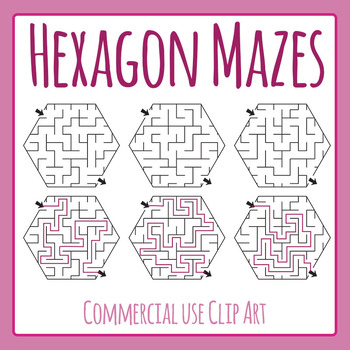 Hexagon Mazes 2 Clip Art Pack for Commercial Use