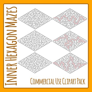 Hexagon Mazes Clip Art Pack for Commercial Use