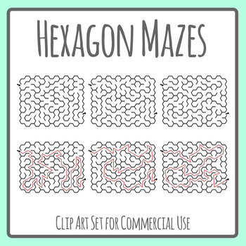 Hexagon Mazes with Solutions Clip Art Set Commercial Use