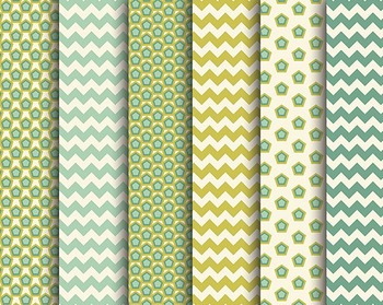 Hexagon Papers, Gold Mint Papers, Digital Papers, Hexagon Paper Set #076