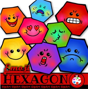 Hexagon Polygons - Emoticon Clip Art Shapes