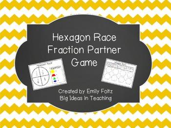 Hexagon Race Partner Fraction Game...FREEBIE!