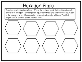 Hexagon Race Partner Fraction Game...FREEBIE!