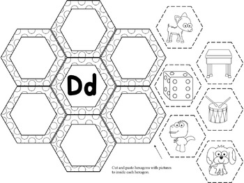 Hexagon Shape Alphabet Cut and Paste ( NO PREP)