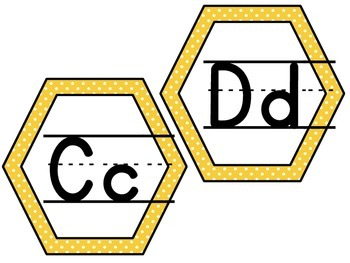 Hexagon Shaped Bee Alphabet