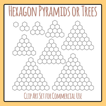Hexagon Tree or Hexagon Pyramid Blank Template Clip Art Set for Commercial Use