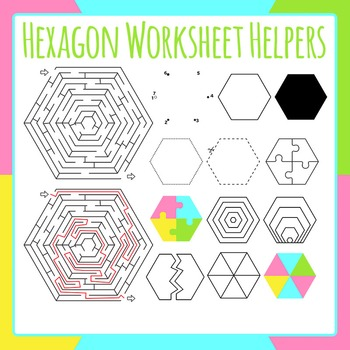 Hexagon Worksheet Helpers Clip Art Set for Commercial Use