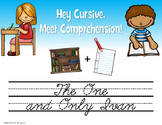 """Cursive Handwriting Practice Reading Questions """"The One an"""