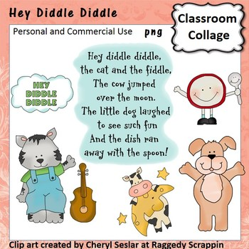 Hey Diddle Diddle Clip Art personal & commercial use C Seslar