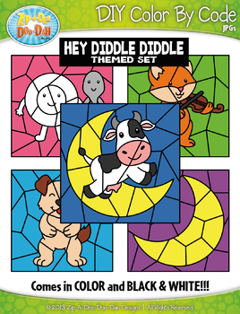 Hey Diddle Diddle Color By Code Clipart {Zip-A-Dee-Doo-Dah Designs}