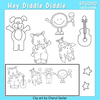 Hey Diddle Diddle Line Drawings Clip Art  C. Seslar