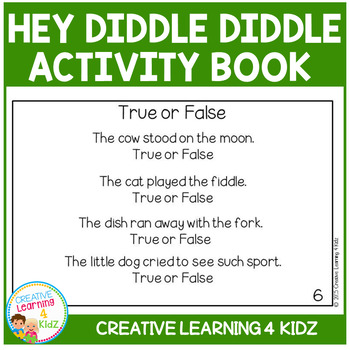 Nursery Rhyme Hey Diddle Diddle Activity Cut & Paste Book