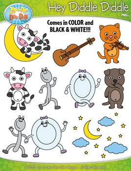 FREE Hey Diddle Diddle Nursery Rhyme Clipart {Zip-A-Dee-Doo-Dah Designs}