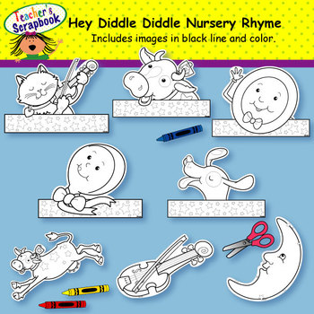 Hey, Diddle, Diddle! Nursery Rhyme Headbands & Sentence Strips