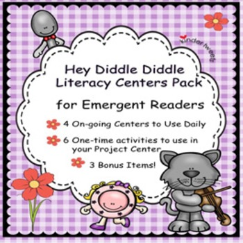 Hey Diddle Diddle Nursery Rhyme Literacy Centers for Emergent Readers