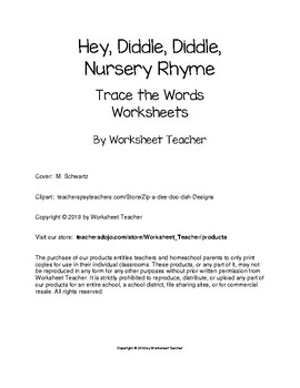 Hey Diddle Diddle Nursery Rhyme Trace the Words Worksheets