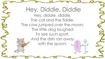 Hey Diddle Diddle Nursery Rhyme with Plans and Activities