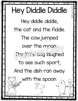 Hey Diddle Diddle - Printable Nursery Rhyme Poem for Kids