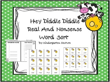 Hey Diddle, Diddle Real and Nonsense Word Sort