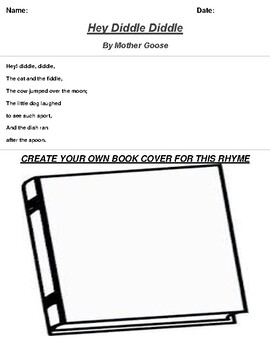Hey Diddle Diddle by Mother Goose Rhyme Book Cover Worksheet
