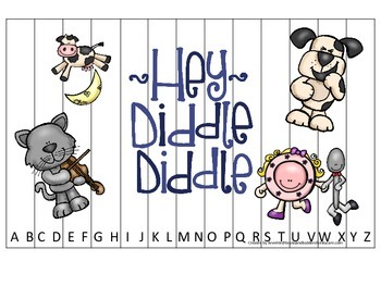 Hey Diddle Diddle themed Alphabet Puzzle preschool learning game. Daycare.