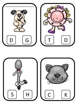 Hey Diddle Diddle themed Beginning Sounds preschool homeschool game.