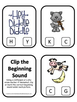 Hey Diddle Diddle themed Beginning Sounds preschool homesc