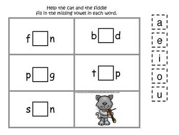 Hey Diddle Diddle themed CVC #1 preschool homeschool vowel activity.