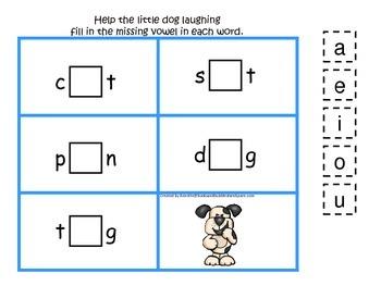 Hey Diddle Diddle themed CVC #3 preschool homeschool vowel activity.