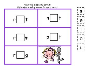 Hey Diddle Diddle themed CVC #4 preschool homeschool vowel activity.