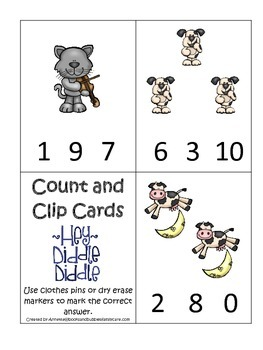 Hey Diddle Diddle themed Count and Clip preschool learning game. Daycare.
