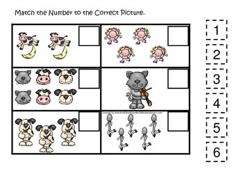 Hey Diddle Diddle themed Match the Number preschool printable. Homeschool