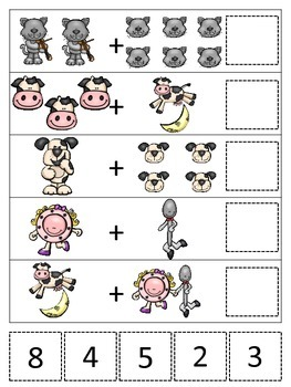 Hey Diddle Diddle themed Math Addition preschool learning game. Daycare.