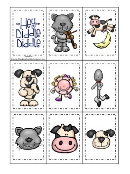 Hey Diddle Diddle themed Memory Matching preschool learning game. Daycare