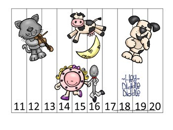Hey Diddle Diddle themed Number Sequence Puzzle 11-20 preschool activity.