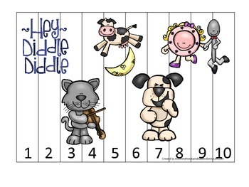 Hey Diddle Diddle themed Number Sequence Puzzle preschool learning game. Daycare
