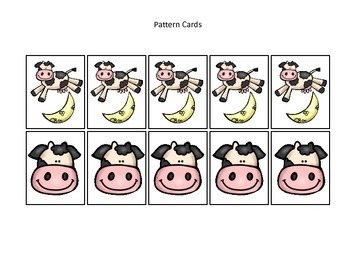 Hey Diddle Diddle themed Pattern Cards #2 preschool learning game.  Daycare game