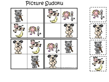 Hey Diddle Diddle themed Picture Sudoku preschool learning game.  Daycare game