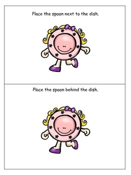 Hey Diddle Diddle themed Positional Cards preschool learning game.  Daycare game
