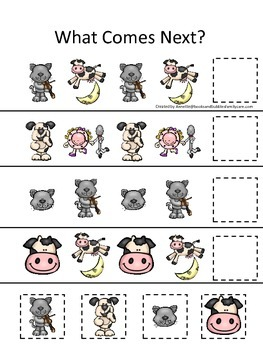 Hey Diddle Diddle themed What Comes Next preschool learning game. Daycare.