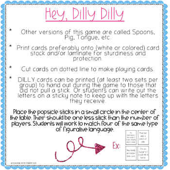 Hey, Dilly Dilly Figurative Language