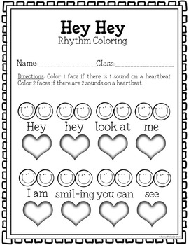 Hey Hey Coloring/Dictation Page (ta & ti-ti prep & practice)