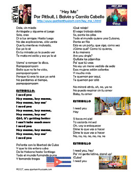 Hey Ma Spanish Song Lyrics and Activities - Pitbull y Camila Cabello - Musica