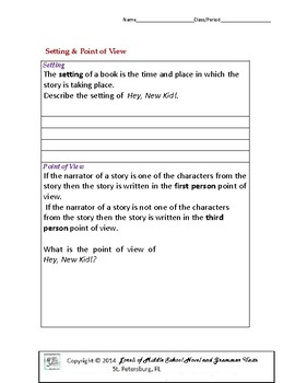 Hey, New Kid Literature and Grammar Unit