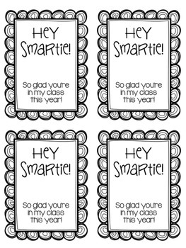 """Hey Smartie!"" Back to School Student Gift Tags FREEBIE"