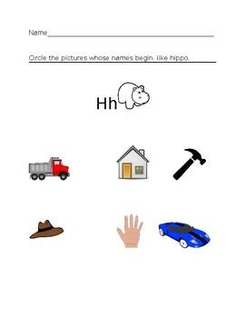 Hh Hippo Homework Sheet #2